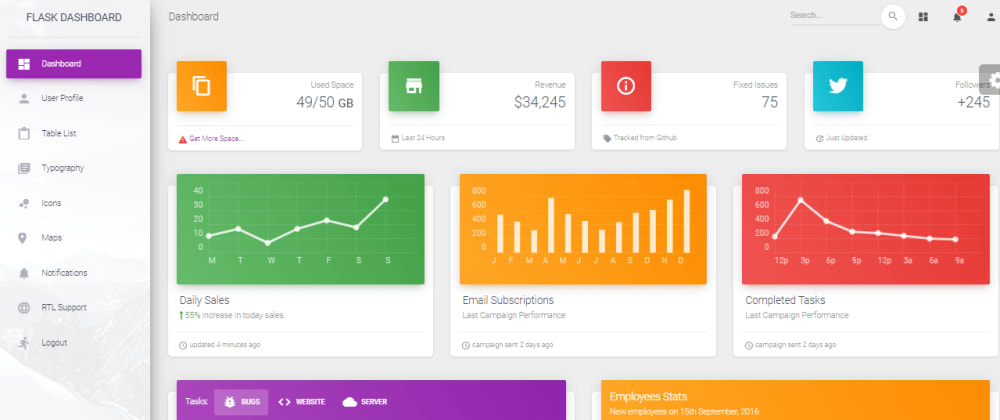 Cover image for Flask Dashboard - Material Design