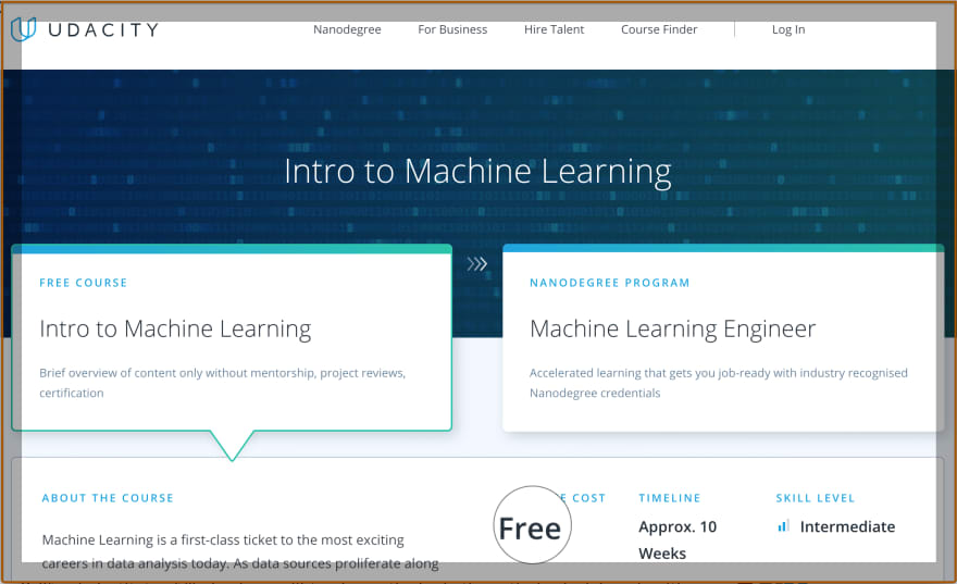 Free Introduction to Machine Learning by Udacity<br>