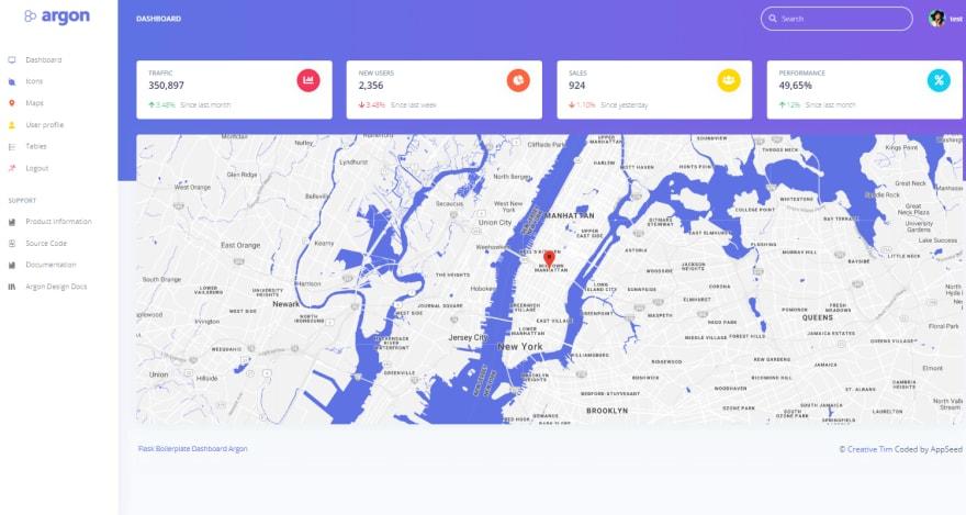 Flask Dashboard Argon - App Screen .