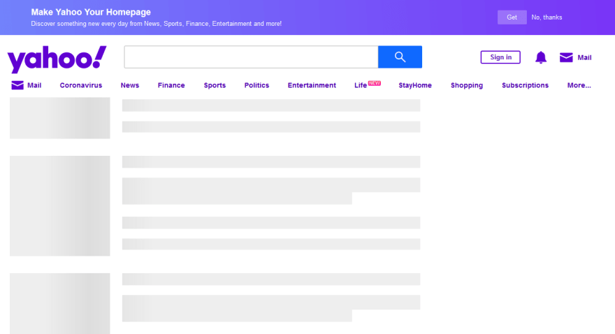 Part of Yahoo!'s homepage with JavaScript disabled showing skeleton structure of some page elements