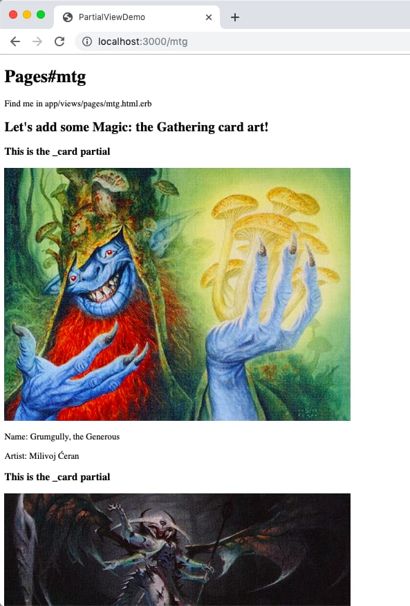 screenshot of localhost:3000/mtg showing magic: the gathering card art