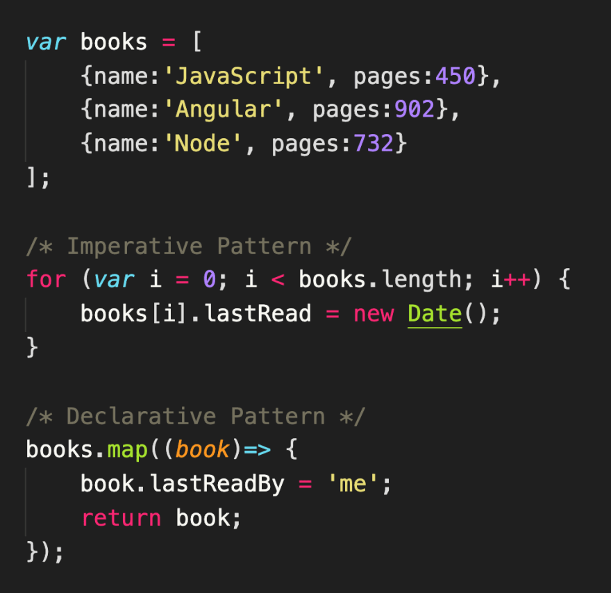 Using a for loop and the imperative pattern vs. using Array.prototype.map() and the declarative pattern<br>