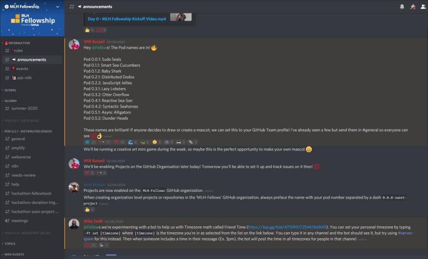 The MLH Fellowship Discord Server