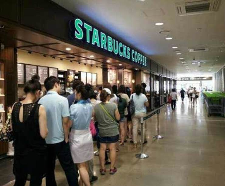 a line at starbucks