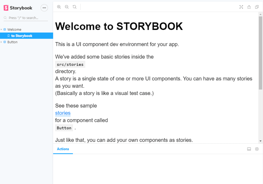 storybook default landing welcome story