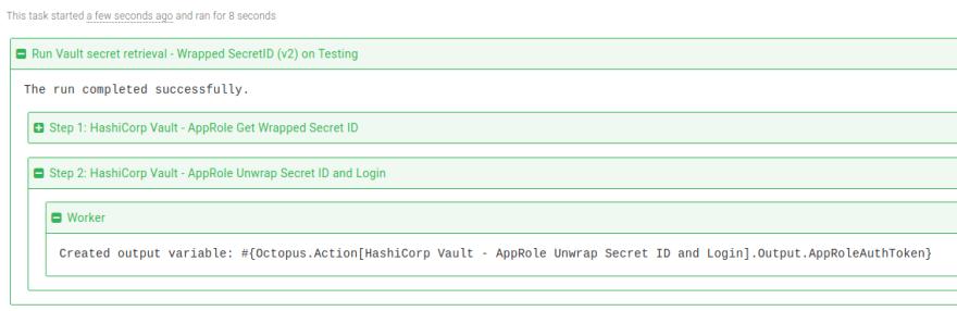 Vault Unwrap SecretID and Login step task log