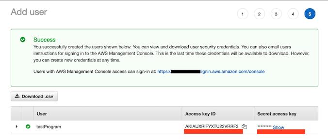 AWS Made Easy | AWS IAM User Success screen