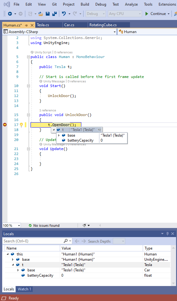 Visual Studio IDE with stopping at a Breakpoint