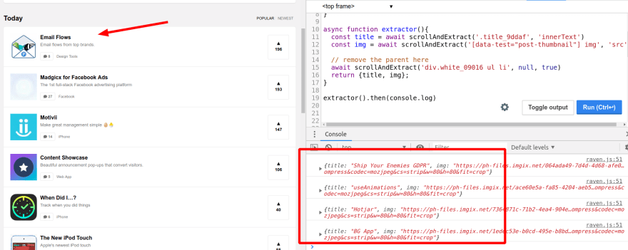 Scraping infinite loading (ie: Product Hunt) pages! Without