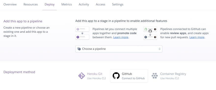GitHub deployment method button