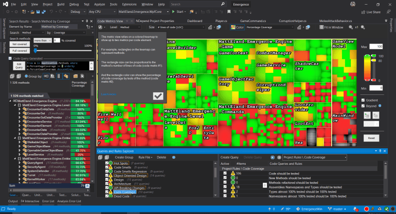 NDepend in Visual Studio on a laptop