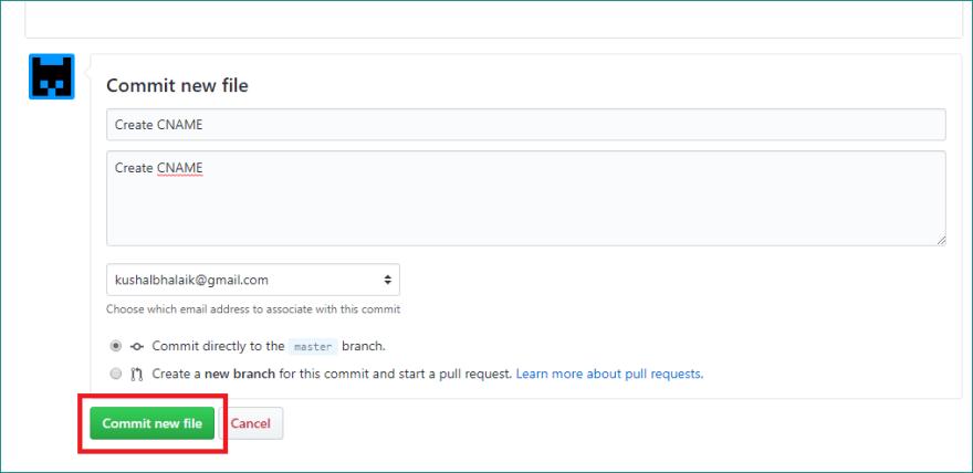 Adding CNAME to repository
