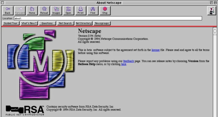 Netscape 1.0, my first browser on a mac