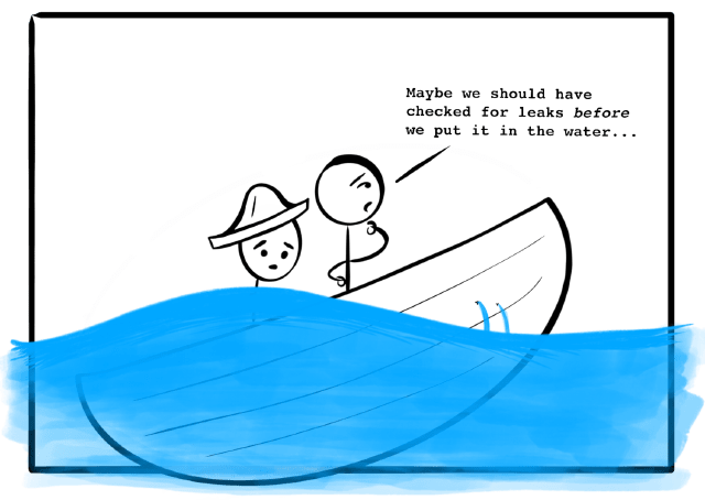 A terrible cartoon of a sinking boat