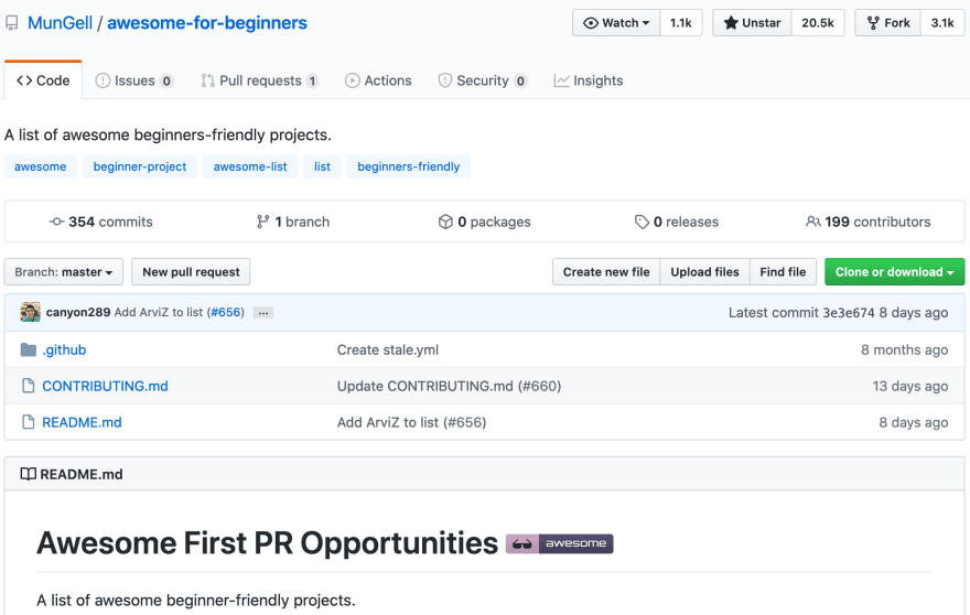 Screenshot showing the Awesome First PR repository
