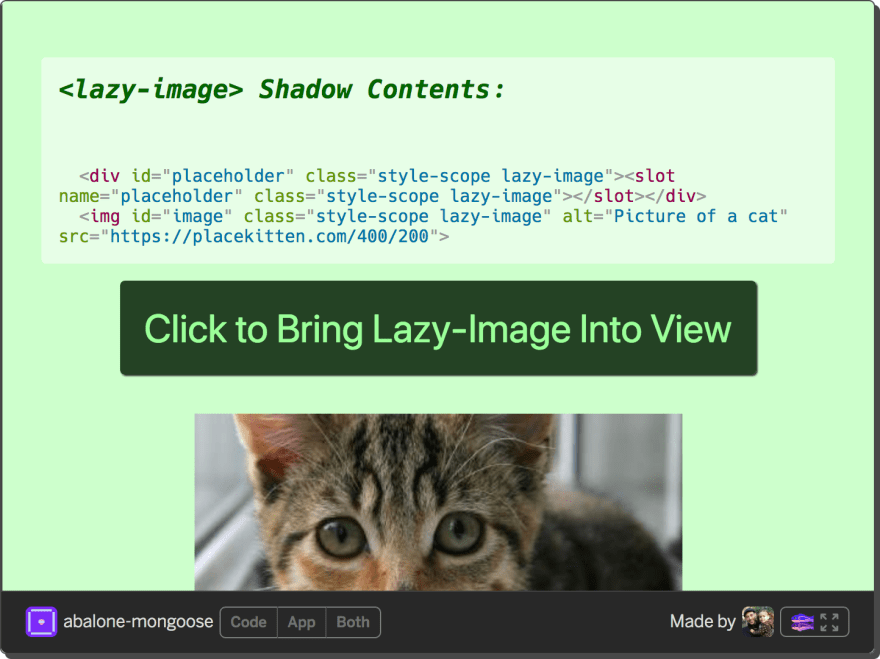 the shady tree on a polyfilled browser, containing no style element and generated classes for shadow content