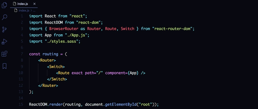 React code snippet with the Aurora X theme