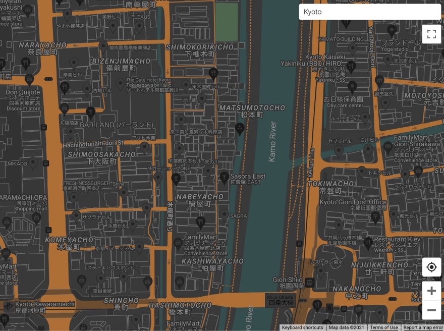 A street map with place labels in light gray (outlined in darker gray), buildings outlined in medium gray, streets in dark orange, parks in dark green, rivers and canals in dark cyan and other elements in dark shades of gray