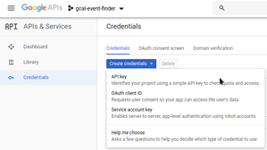new project in Google API console, credentials