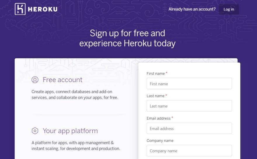 HEROKU - Sign Up page.