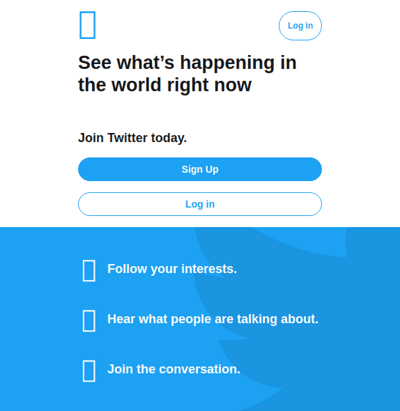 Blank-rectangles in Twitter log-in screen.