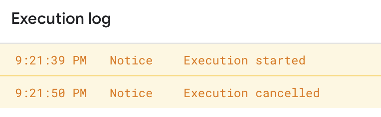 Execution log in the script editor