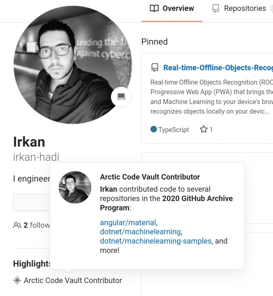 Irkan Hadi's GitHub Arctic Vault top contributions