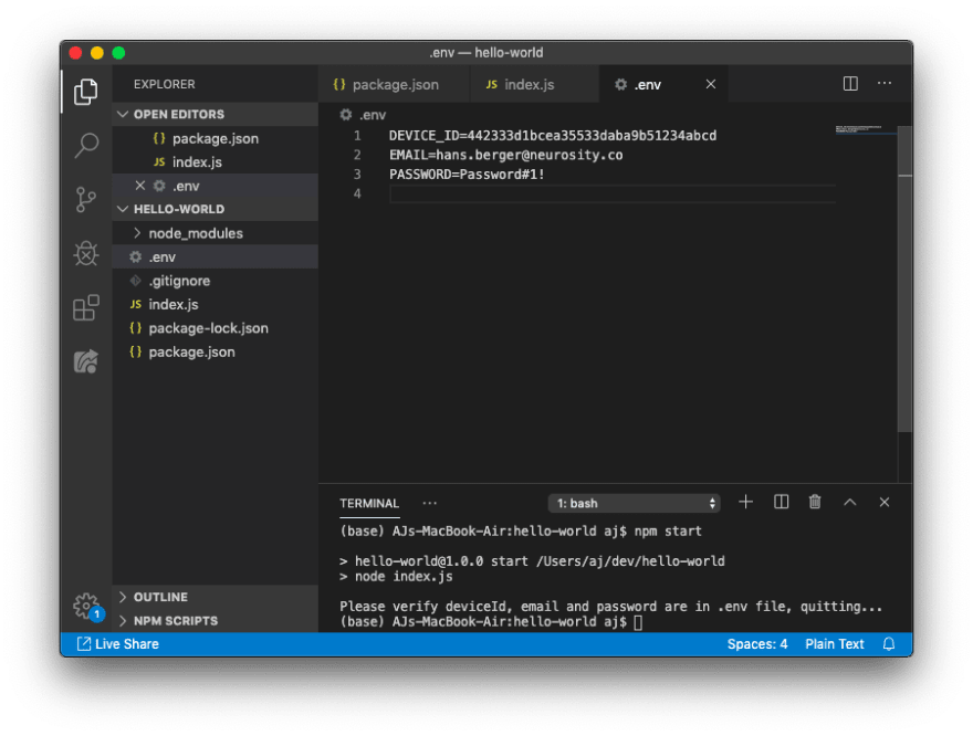 Created a new file called .env
