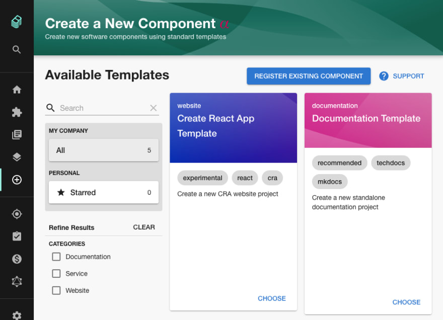 A list of software templates with a search bar and filtering by categorization