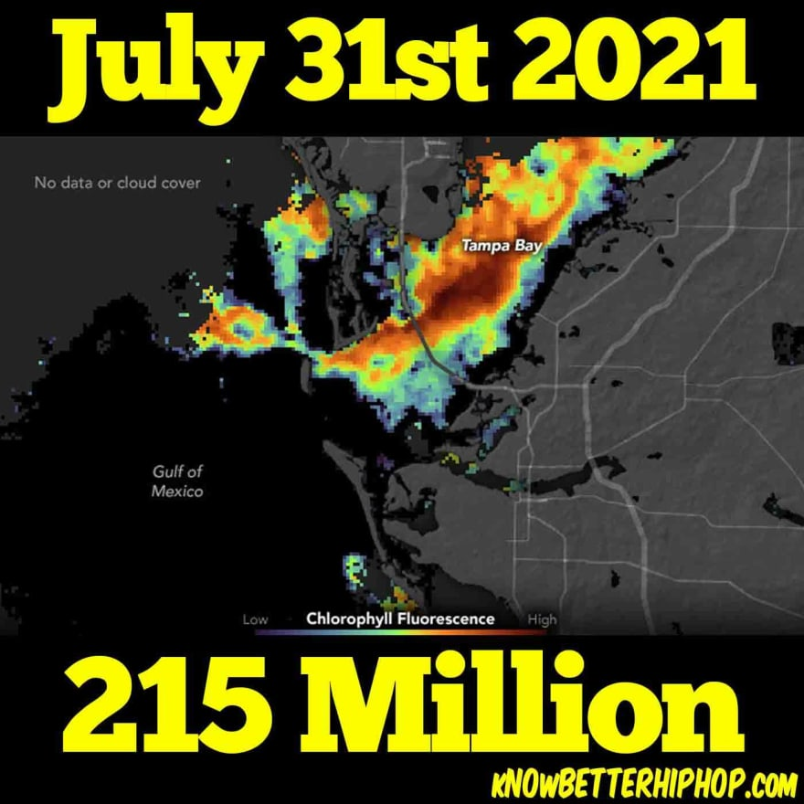 Radio show episode image of a NASA satellite photo showing the amount of Red Tide in the Tampa Bay with the words July 31st 2021 215 Million