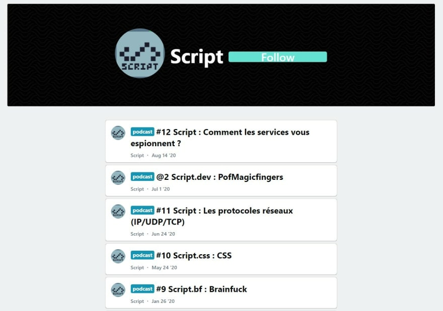 """Podcast page of """"script"""" listing all of their podcasts"""