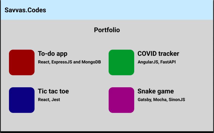 Example of a portfolio website