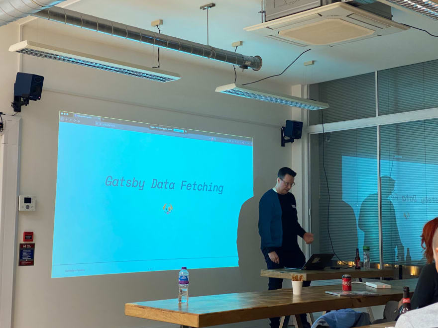 Scott Spence presenting at the MMT Tech Meet-up in January 2020 about Gatsby Data Fetching