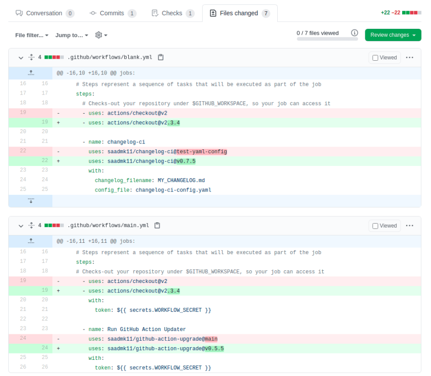GitHub Actions Version Updater Pull Request Changes