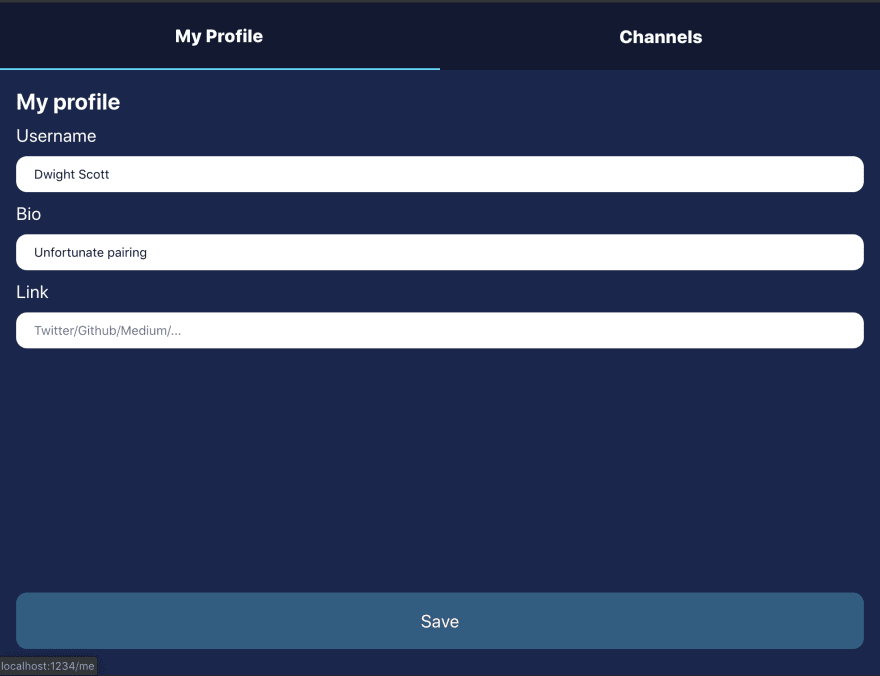 What the profile page should look like