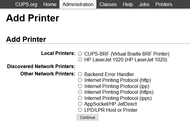 Add A Printer Section on Cups