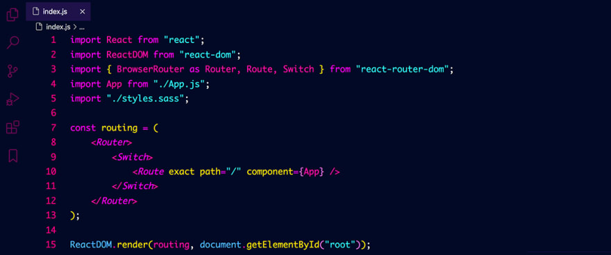 React code snippet with the 2077 theme