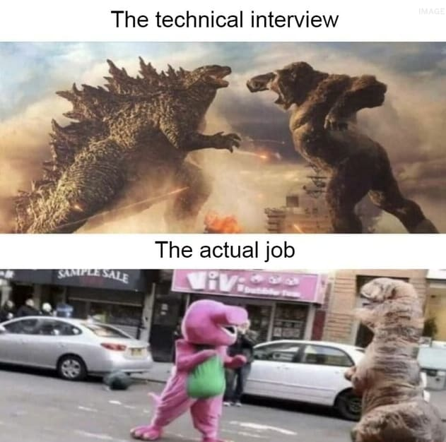 Job interview meme, showing the interview process as two dinosaurs fighting versus the actual job as two plushies