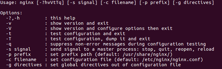 nginx with nginx -h command