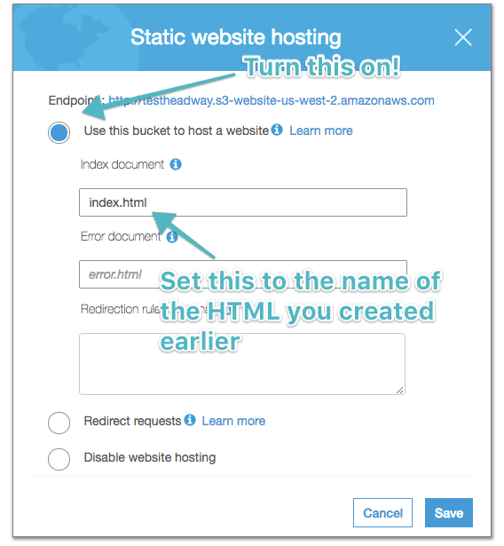 Static website radio button and index file name