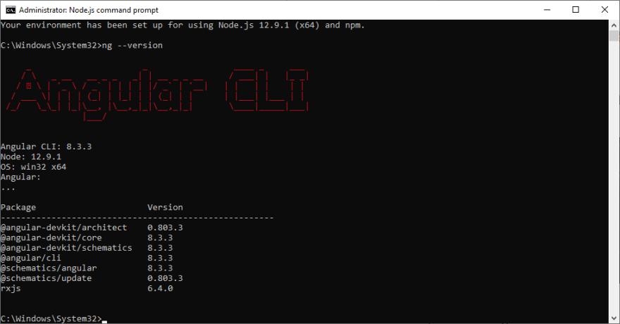 Node.js command prompt and Angular CLI