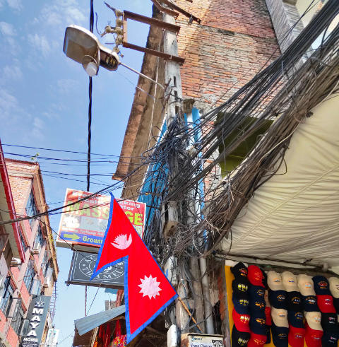 Electric wiring on the streets of Kathmandu