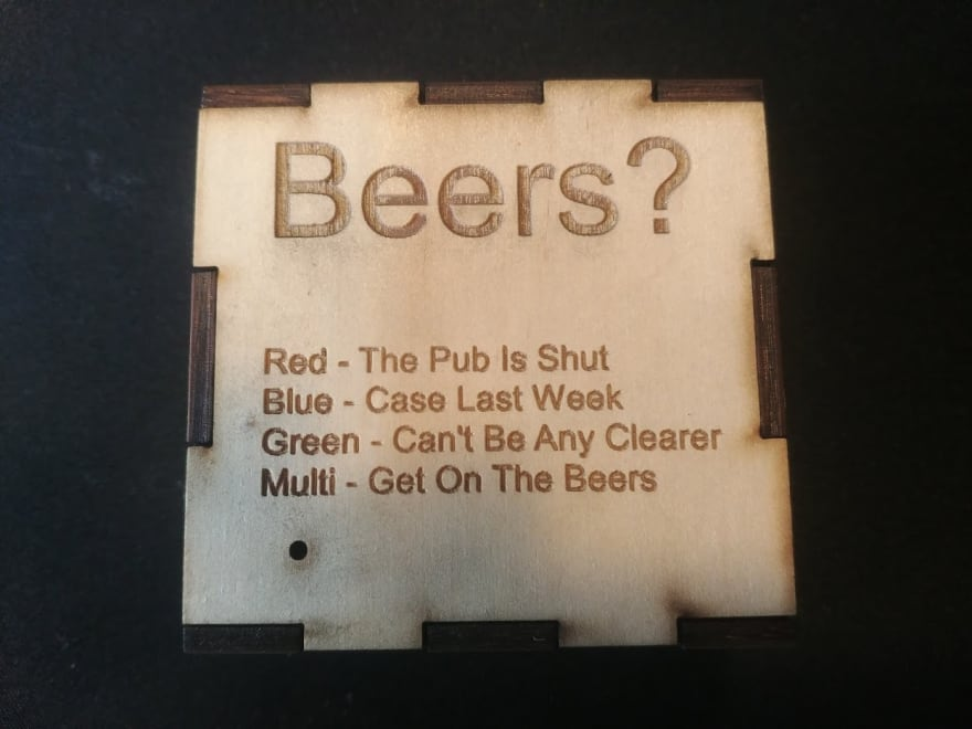 "The housing glued up and ready to home. The text on it is clear and reads ""Beers? Red - The Pub Is Shut. Blue - Case Last Week. Green - Can't Be Any Clearer. Multi - Get On The Beers"""