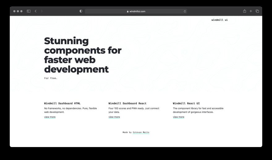 Screenshot of Windmill UI website