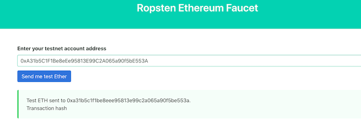 Ether Ropsten Faucet Site