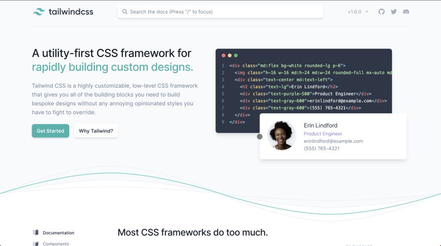 Tailwind CSS screenshot