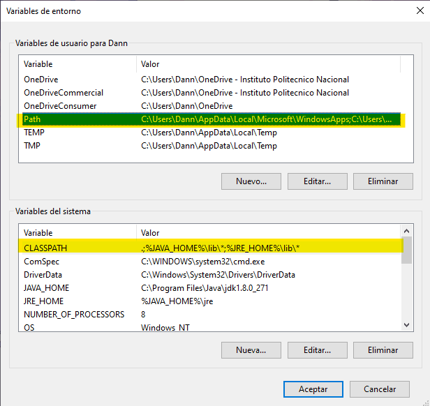 """""""Environment variables"""" window"""