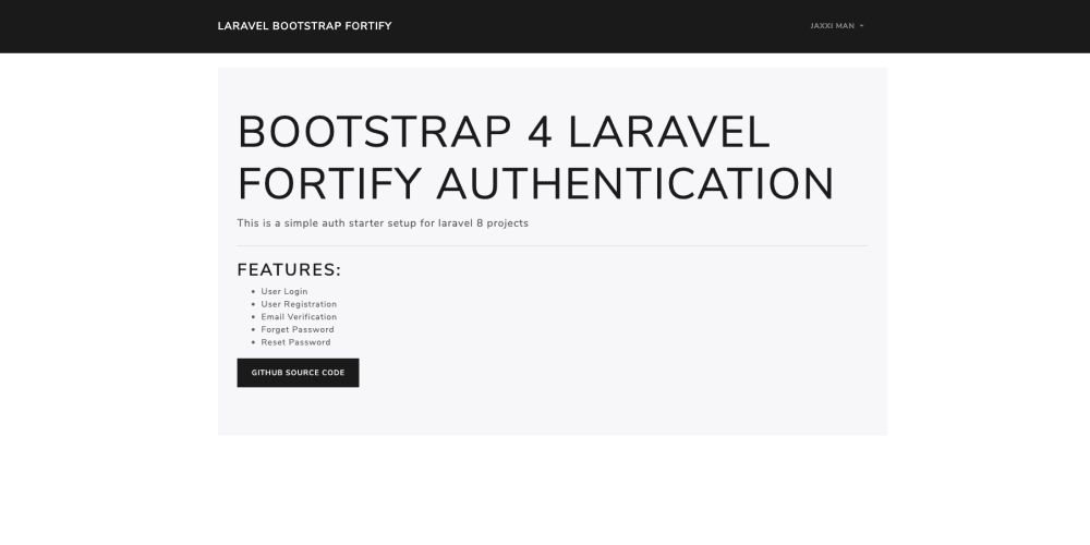 Laravel 8 authentication with Bootstrap and Fortify image