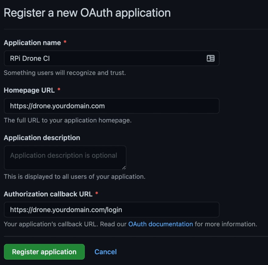 GitHub Register new OAuth application page