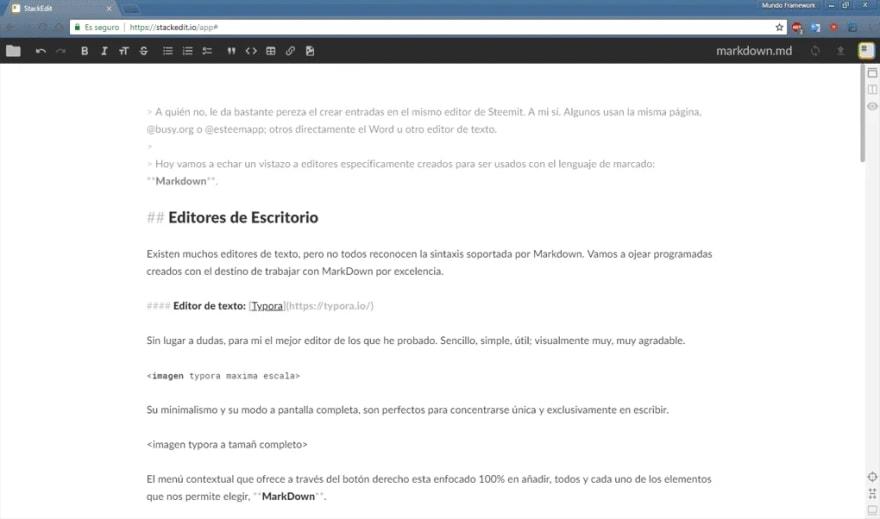 visión del editor online de Stackedit